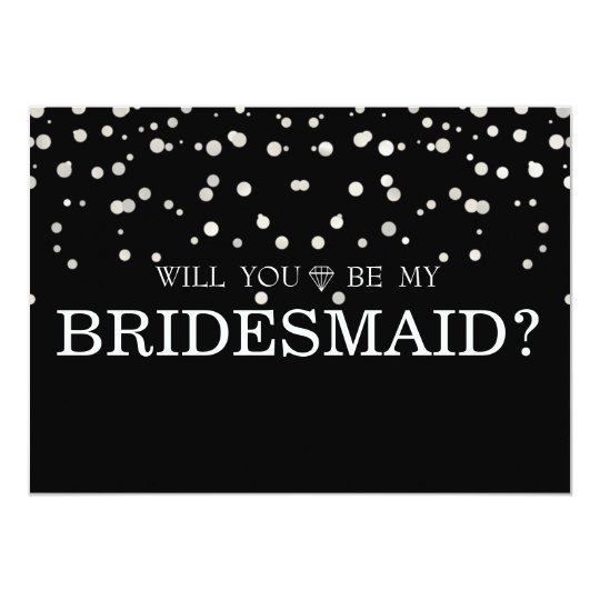 Black Silver Glitter Will You Be My Bridesmaid