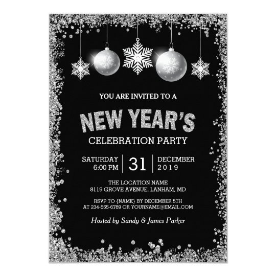 Black Silver Glitters New Year's Eve Party Card
