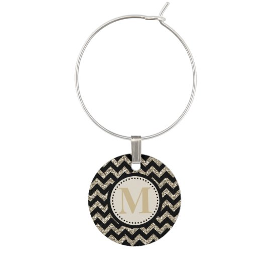 Black Silver Gold Faux Glitter Chevron Monogram Wine