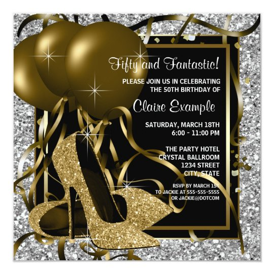 Black Silver Gold High Heels Womans Birthday Party