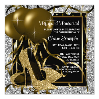 "Black Silver Gold High Heels Womans Birthday Party 5.25"" Square Invitation Card"