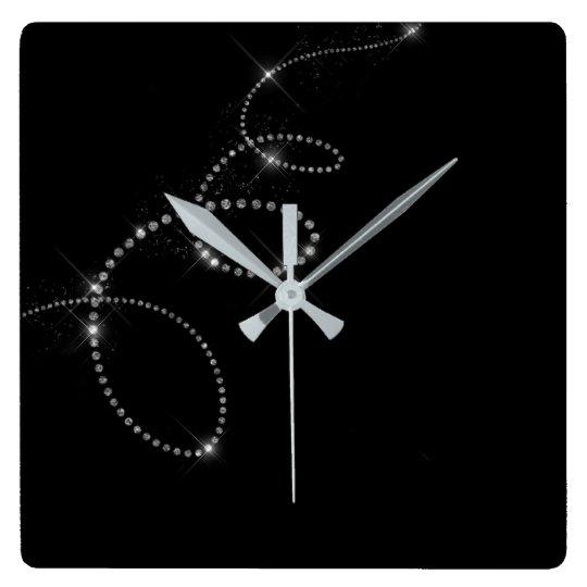 Black Silver Gray Gemms Crystal Swarovski Infinity Square