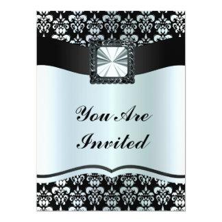 Black & silver grey  damask any occasion 17 cm x 22 cm invitation card
