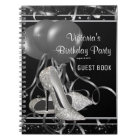 Black Silver High Heel Shoe Party Guest Book