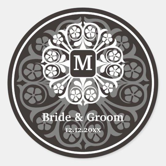 Black Silver Initial M Monogram Seal Party Favour