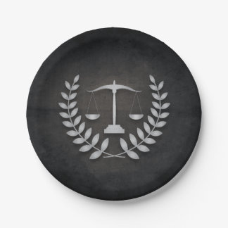 Black+Silver Legal Practice/Law Firm/Attorney Paper Plate