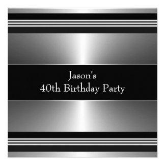 Black Silver Mans 40th Birthday Party Custom Invitations