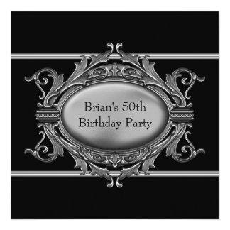 Black Silver Mans 50th Birthday Party Card
