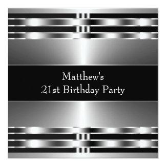 Black Silver Mens Birthday Party Card