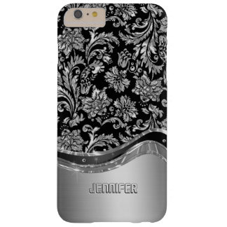 Black & Silver Metallic Look With Damasks Barely There iPhone 6 Plus Case
