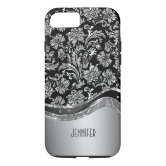 Black & Silver Metallic Look With Damasks iPhone 8/7 Case