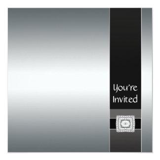 """Black  Silver Modern Party Invitation Template 5.25"""" Square Invitation Card"""