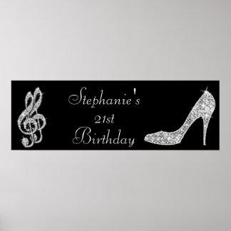 Black/Silver Music Note & Stiletto 21st Birthday Poster