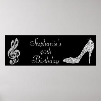 Black/Silver Music Note & Stiletto 40th Birthday Poster