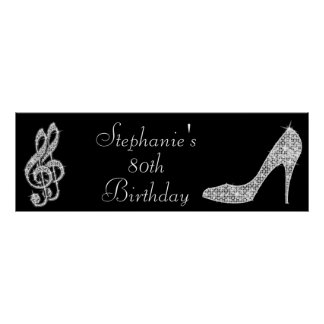 Black/Silver Music Note & Stiletto 80th Birthday Poster