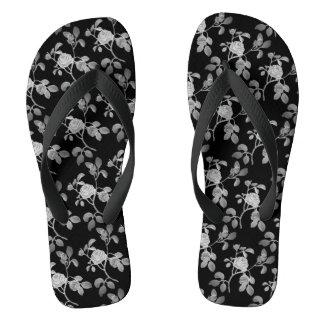 Black Silver old Rose Vine Shower Shoes FlipFlops