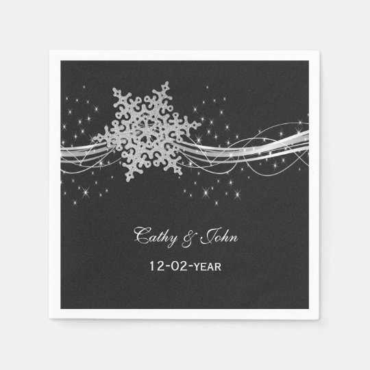 black Silver personalised wedding napkin Disposable Serviette