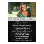 Black silver photo graduation party announcement