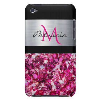 Black Silver Pink Diamonds With Monogram Barely There iPod Covers