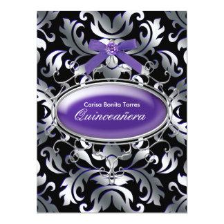 """Black Silver Purple Damask Purple Quinceanera 6.5"""" X 8.75"""" Invitation Card"""