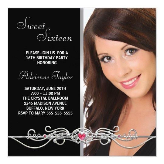 Black Silver Red Heart Photo Sweet Sixteen Birthda Card