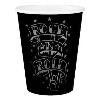 Black & Silver Rock & Roll Logo Paper Cups