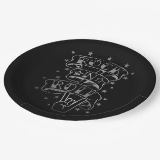 Black & Silver Rock & Roll Logo Paper Plates 9 Inch Paper Plate