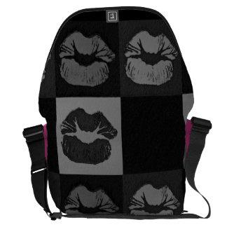 Black Silver Sassy Lips Commuter Bag