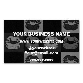 Black Silver Sassy Lips Magnetic Business Cards