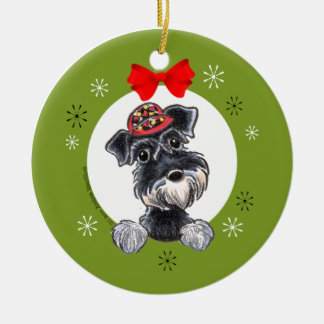 Black Silver Schnauzer Christmas Classic Round Ceramic Decoration