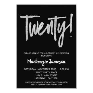 Black Silver Script 20th Birthday Party Invitation