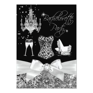 Black & Silver Sparkle Bow Bachelorette Party 13 Cm X 18 Cm Invitation Card