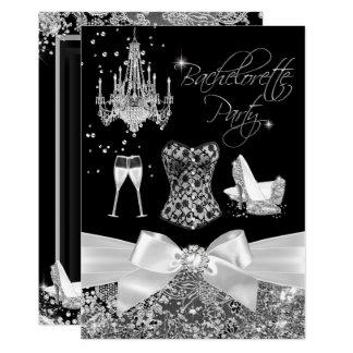 Black Silver Sparkle Bow Bachelorette Party Card