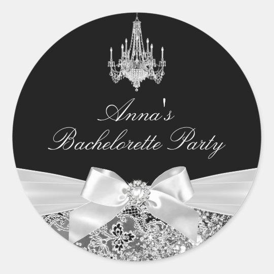Black & Silver Sparkle Bow Bachelorette Sticker