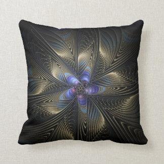 Black & Silver Spirals Abstract Art Throw Pillow