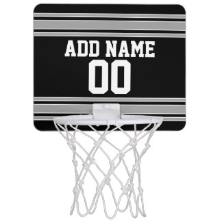 Black Silver Sports Jersey with Your Name & Number Mini Basketball Hoop