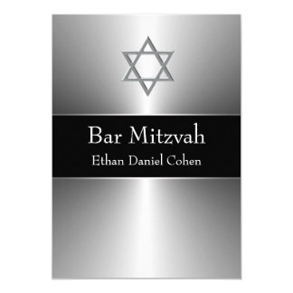 Black Silver Star of David  Bar Mitzvah 13 Cm X 18 Cm Invitation Card