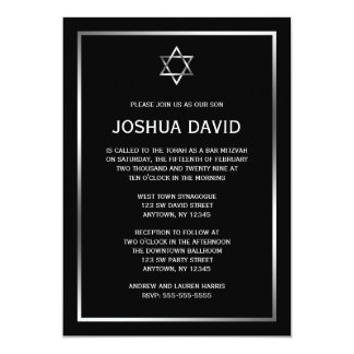 Black Silver Star of David Bar Mitzvah Invitations