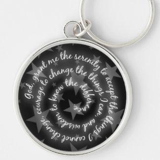 Black & Silver Stars Serenity Prayer Keychain