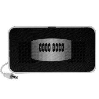Black silver steel name iPod speakers