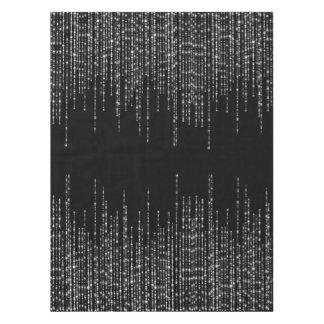 Black silver strands sparkle formal tablecloth