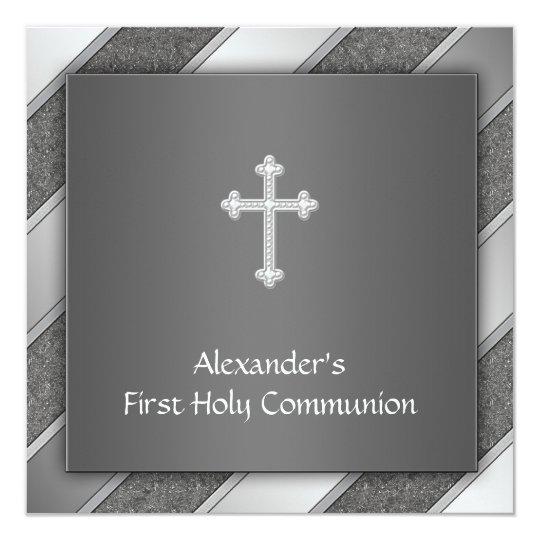 Black Silver Stripe Boy First Communion Invitation