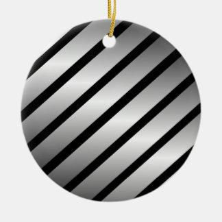 Black Silver Stripe Christmas Ornament