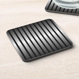 Black Silver Stripe Cork Coaster
