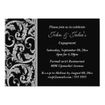 Black silver swirl engagement anniversary CUSTOM Personalized Invitation