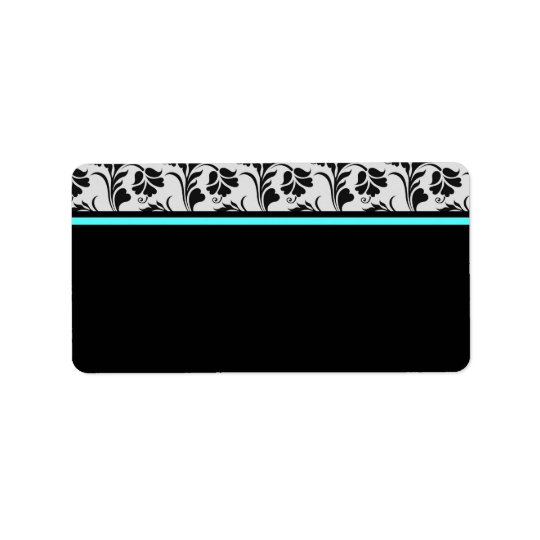 Black Silver Teal Floral Address Label
