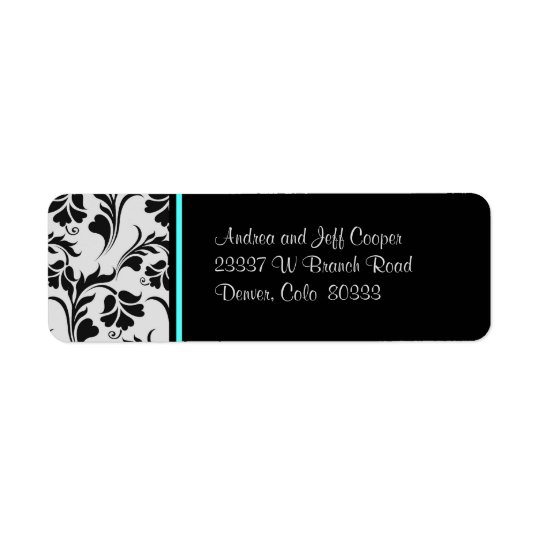 Black Silver Teal Floral Return Address Label
