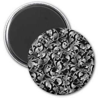 Black & Silver Twining Leaves 6 Cm Round Magnet
