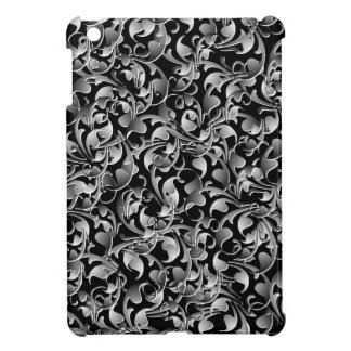 Black & Silver Twining Leaves iPad Mini Case
