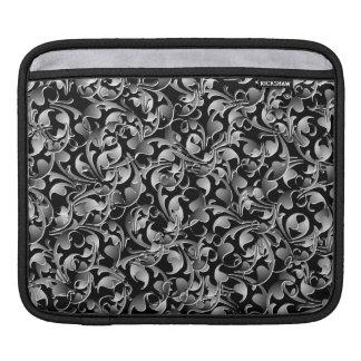 Black & Silver Twining Leaves iPad Sleeve